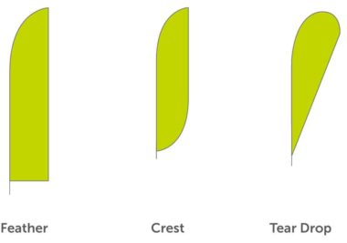 Flag Printing Shapes (Feather, Crest & Tear Drop)